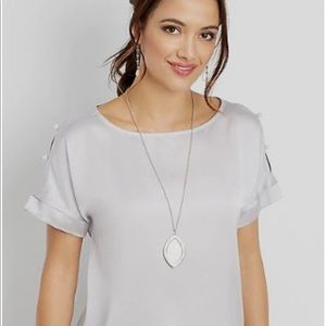 Lavender silk top with cold shoulder